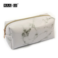 Wholesale makeup brush bags cases resale online - Marbling PU Brush Bag Makeup Pencil Case Marble Cosmetic Handbag Pouch Beauty Make Up Brush Holder Pencil Bag School Tools