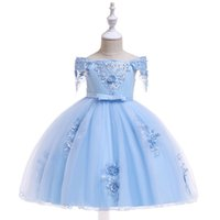 Wholesale puffy clothing for sale - baby Girls tutu dresses children s kids wedding princess dress puffy bows flower girl catwalk show piano costumes gilr clothes one shoulder