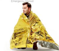 foil espaço cobertor emergência venda por atacado-Ao ar livre À Prova de Água Sobrevivência de Emergência Resgate Blanket Foil Espaço Térmico Primeiros Socorros Sliver Resgate Cortina Cobertor Militar 2019