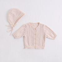 ingrosso maglieria a maglia per i neonati-neonata abbigliamento per bambini cappotto cardigan lavorato a maglia bottoni cappotto manica manica 3/4 bambini cappotto + cappello abbigliamento per bambini
