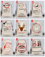 grande drawstring dom sacos venda por atacado-2020 Sacos de Presente de Natal Saco de Lona Grande Orgânica Pesado Saco de Papai Noel Saco de Cordão Com Renas Papai Noel Saco Sacos para crianças presentes