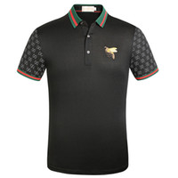 italienische modekleidung großhandel-Mode designerss italienischen Mens Bee Stickerei-Revers-T-Shirt Kleidung T-Shirts für Männer Casual Mannes lustigen T-Shirt Tops G2Gucci Druck