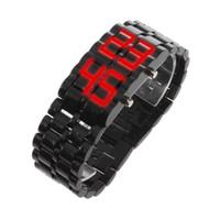 montres à led de lave achat en gros de-Montre LED numérique Lava pour hommes et femmes Montre-bracelet élégante à LED