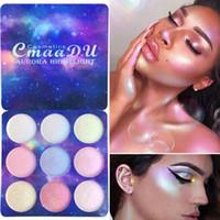 conjuntos de maquiagem profissional venda por atacado-CmaaDu Chameleon 9 Cores / set Pro Luminosa Glitter Sombra Em Pó Paleta de Som Holographic Shimmer Paletas de Maquiagem Radiante