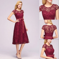 Wholesale evening dresses applique mini for sale - Group buy Elegant Short Homecoming Dresses In Stock Short Sleeve Sheer Lace Neck Tea Length Party Wear Cocktail Evening Casual Dresses CPS1152