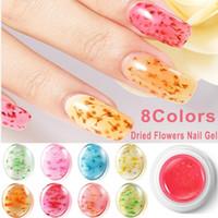 acryl blütenspitzen großhandel-Gel Nagellack Nail Art 8 Farben 3D Dekoration Echte Trockene Getrocknete Blume Für UV Gel Acryl Nail Art Tips Dekorationen