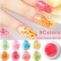 ingrosso decorazione acrilica 3d per le unghie-Gel Nail Art Nail Art 8 colori 3D Decorazione Real Dry fiore secco per gel UV Nail Art acrilico Consigli Decorazioni