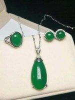 jade grüner silber ring großhandel-Authentische natürliche grüne Jade 925 Ring Silber Halskette Anhänger Ohrringe Set Jade Schmuck