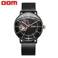 наручные часы для браслетов оптовых-DOM Fashion Design Skeleton Sport Mechanical Watch Luminous Hands Steel Mesh Bracelet Top  Wristwatch For Men M-8119