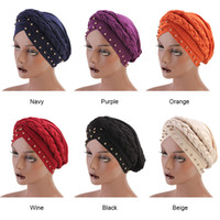 ingrosso la fascia dei capelli della treccia-Fashion Caps Turban Bandana Nuovo stile intrecciato headwrap Africano Point Drill Milk Silk Head Wrap Twist Hair Band Accessoires