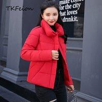 ingrosso cappotto di parka invernale donna rosso-I cappotti caldi degli autunni delle donne coprono gli abiti del pane del parka imbottiti di cotone I vestiti invernali rosa, rossi, grigi, neri femminili del basamento del basamento si levano in piedi collo