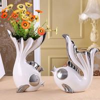 wohnzimmer-ornamente modern großhandel-2 Teile / satz Kreative Fisch Form Design Blumenvase Dekorative Keramik Vase Einrichtung für Esszimmer Wohnzimmer Handwerk Ornament