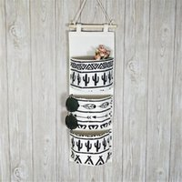 Wholesale white toy organizer resale online - Black White Pattern Cotton Linen Hanging Storage Bag Pockets Wall Mounted Wardrobe Hang Bag Wall Pouch Cosmetic Toys Organizer Storage Box