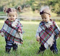 ingrosso scialle di poncho delle ragazze dei capretti-Neonate Cappotto scozzese invernale Scialle per bambini Scialle Poncho Mantelli in cashmere Capispalla Cappotti per bambini Giacche Abbigliamento Abbigliamento RRA1948