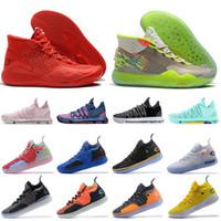 gri kd ayakkabı toptan satış-Kevin Durant Drake Gri Erkek Gençlik Basketbol Ayakkabıları KD 12 11 KD 10 Hiper Turkuaz BHM siyah tarih ay erkek eğitmenler spor sneakers