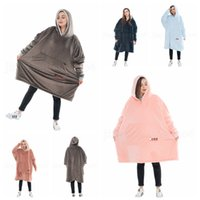 Wholesale cozy soft blankets resale online - Cozy Sherpa Hooded Blankets Colors Super Soft Comfortable Adults Solid Color Hood Large Pocket Oversized Sweatshirts Home Clothing OOA6057