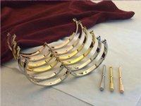 armreif große größe großhandel-Luxus Diamant Hochzeit Edelstahl Pulseira Armband Bangle 18k Gold Silber Rose große Liebe Armband Frauen Männer Größe 16/17/18/19/20 / 21cm