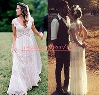 Wholesale yellow lace wedding dresses resale online - Romantic V Neck Beach Outoor Wedding Dresses Lace A Line Spring Garden Chiffon Arabic Wedding Gowns For Bride African Plus Size Ball