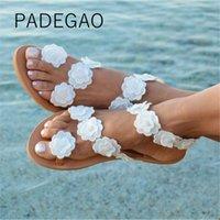 ingrosso scarpe da spiaggia eleganti-Scarpe da donna 2019 Summer Beach Flower Sandali eleganti casual Moda scarpe da donna di lusso