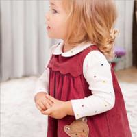 vestido de pana bebé niña al por mayor-Rojo sin mangas de la niña de ropa de vestir pana vino vestido de todas correspondan primavera otoño vestido de princesa Girl