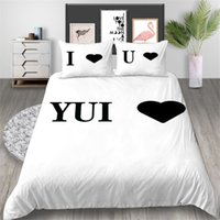 Wholesale love bedding sets king resale online - Black Love Bedding Set White Simple Creative Fashionable Duvet Cover Single Queen King Twin Full Double Soft Bed Cover with Pillowcase