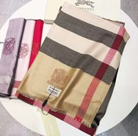 ingrosso controlli di logo-Sciarpe da uomo e da donna firmate di moda autunno inverno sciarpe check cashmere sciarpa 180 * 75cm ricamo scialle logo sciarpa