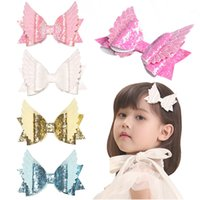 Wholesale baby clothes angel wings resale online - Children s hairpin flash sequined baby bow birthday party hair ornaments angel wings girl princess headwear clothing accessories color
