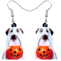 amantes cães venda por atacado-Acrílico Halloween Pumpkin Santo Jóias cão brincos Dangle novidade animal para Atacado Mulheres Meninas Pet Lovers presente