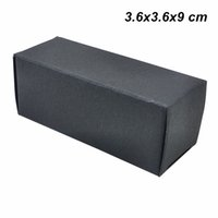 Wholesale cosmetic paper box packaging resale online - 3 x3 x9 cm Black Kraft Paper ML Essential Oil Bottle Lip Stick Packing Boxes Perfume Cosmetic Nail Polish Gifts Packaging Box