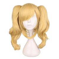 lange blonde pferdeschwänze groihandel-Lange gewellte Cosplay gemischte blonde Perücke mit 2 Pferdeschwänzen Kunsthaarperücken