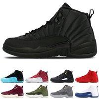 bottes hautes pour hommes achat en gros de-Nike Air Jordan 12 Chaude en gros nouvelle pas cher 12 laine mens chaussures High Cut Bottes haute qualité designer chaussures J12 Black White casual chaussures