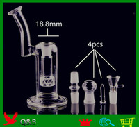 Wholesale blown glass pipes bongs for sale - Group buy QBsomk D020 bubbler bong hand blown glass bubbler perc water percolator smoking color pipe two functions