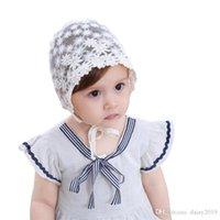 bonés de bebê brancos venda por atacado-Doce Flor Baby Girl Hat Fotografia Adereços Laço Branco Verão Bonnet Baby Cap Enfant para 3-18 Meses