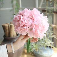 Wholesale peony flowers for sale - Group buy 5Pcs bouquet Silk Peonies Artificial Flower Bouquet for Wedding Decor Peonies Flower Bouquet Home Party Decoration Fake Flower
