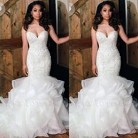 Wholesale lace layered mermaid wedding dress resale online - 2020 New Sweetheart Organza Mermaid Wedding Dresses Beads Stones Top Layered Ruffles Plus Size Wedding Bridal Gowns robe de mariée BC0586