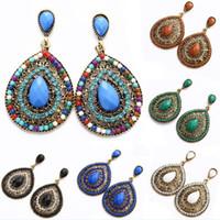Wholesale stud pendant for sale - Group buy Bohemia Waterdrop Shape Hollow Out Beaded Earrings Crystal Rhinestone Drop Charm Pendant Ear Stud Dangle Eardrop Women Jewelry Wedding Gifts