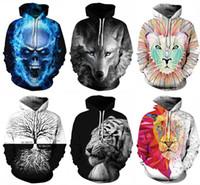 galaxy space pullovers al por mayor-2019 Fashion Galaxy Space Wolf Tiger Skull Imprimir Sudaderas con capucha en 3D Mujer Hombre Unisex Sudadera con capucha Con Gorra Sudadera informal Tallas grandes