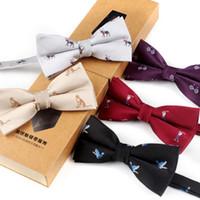 laço de malha dos homens venda por atacado-Moda Mens Knit Ties Acessórios Homens Laços Homens Gravatas Adorável Padrão Pássaro