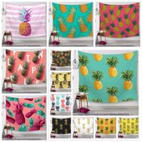 ingrosso decorazione parete esterna-25 Stili serie ananas arazzi da parete digitale stampato asciugamani da spiaggia telo da bagno home decor tovaglia pad all'aperto CCA11587 20 pz