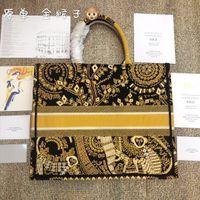 sacs en toile colorés achat en gros de-Dernière mise à jour de qualité coloré oeuvre Vintage brodé livre fourre-tout Designer sacs de toile imprimée 42cm grande capacité sacs à provisions sacs à provisions