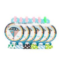 suministros marinos al por mayor-6 unids / lote náutico tema Blowout juguete para niños fiesta de cumpleaños decoración de la boda marino azul barco fabricantes de ruido fuentes del partido