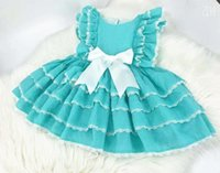 vestido de lã de algodão de algodão de verão venda por atacado-3 pcs Boutique de Verão Outono Bebê Menina Azul Laranja de Algodão Do Vintage Princesa Espanhola Vestido de Renda Vestido Lolita Festa de Aniversário DressMX190822