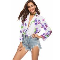damen lila overall großhandel-Frauenhemden drehen sich tiefer tiefen V-Ausschnittoverall purpurroten Blumendruckchiffon reizvolle elegante formale Gelegenheitsdame übersteigt 8912