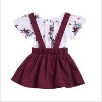 красные платья для девочек-малыша оптовых-Малыша новорожденных девочек 2 шт. / Лот наряды ребенка с коротким рукавом + ремень платье Младенческая красное вино одежда Baby Girls Dress