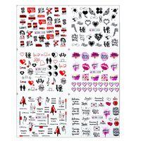 Coloré Lettre Russe Eau Nail Autocollants Rouge Sexy Girl Ongles Curseur Russie Mots Manucure Décor Tattoo Designs Black Friday 11