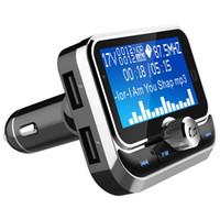 adaptador multi tarjeta al por mayor-Coche Bluetooth Transmisor FM MP3 con tarjeta de pantalla grande Multifunción Adaptador de radio inalámbrico Llamadas manos libres