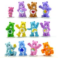 ingrosso l'azione porta-action figure giocattoli 12 pz / lotto anime cura orsi mini pvc action figure giocattoli 4-5 cm da collezione orsi colorati modello bambole per bambini giocattolo regalo