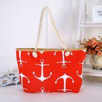Wholesale anchor handbags resale online - Women Handbag Leisure Beach Bags Canvas Printing Cotton Rope Ships Anchor Single Shoulder Sturdy Durable Zipper Design zpC1