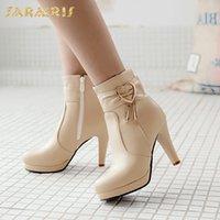 mulheres botas de escritório venda por atacado-SARAIRIS 2018 Plus Size 32-48 Inverno Quente Botas Mulher Sapatos de Salto Alto Zip Up Venda Quente senhora do escritório Ankle Boots Sapatos Mulheres