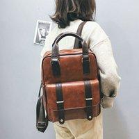 ingrosso grandi sacchetti di design marrone-In pelle marrone 2019 Mochila Feminina Anti Theft Sacchetti di scuola impermeabile Viaggi Vintage computer portatile del progettista grande zaino donne coreane